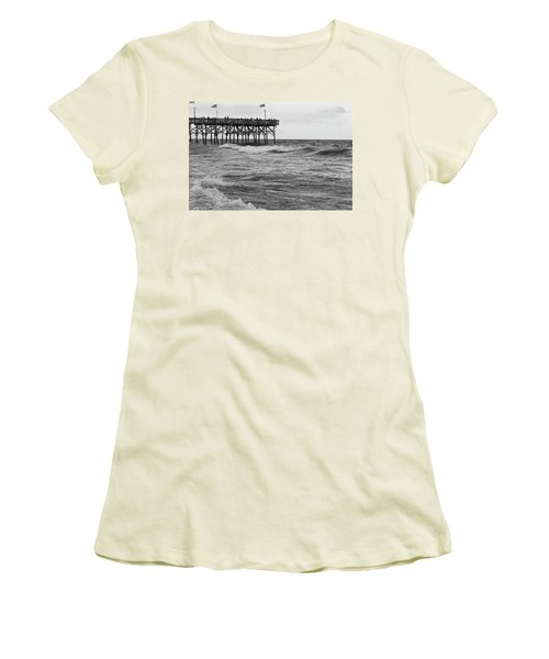 Women's T-Shirt (Junior Cut) featuring the photograph Fishing Off The Pier At Myrtle Beach by Chris Flees