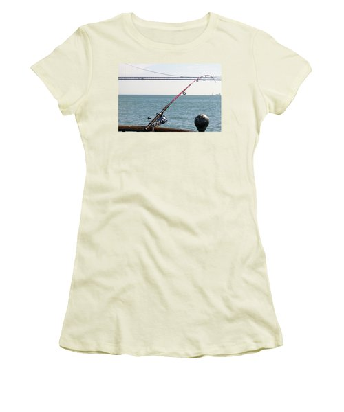 Fishing Rod On The Pier In San Francisco Bay Women's T-Shirt (Athletic Fit)