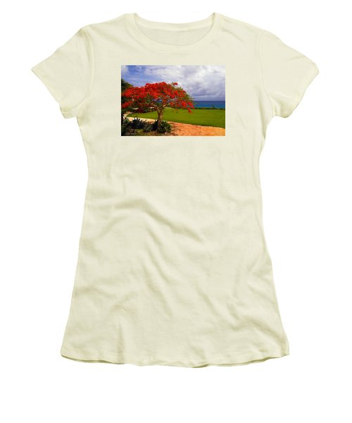 Flamboyant Tree In Grand Cayman Women's T-Shirt (Junior Cut) by Marie Hicks