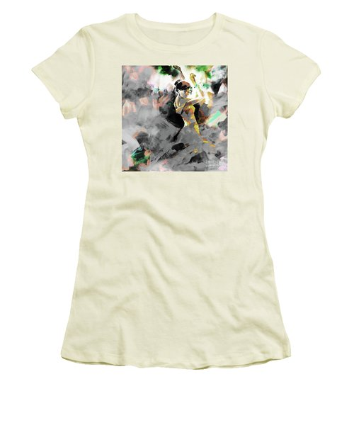 Women's T-Shirt (Junior Cut) featuring the painting Flamenco Dance Art 7u7 by Gull G