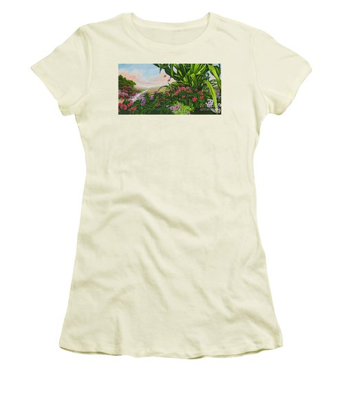 Women's T-Shirt (Junior Cut) featuring the painting Flower Garden Vii by Michael Frank