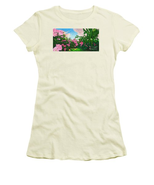 Women's T-Shirt (Junior Cut) featuring the painting Flower Garden Xi by Michael Frank