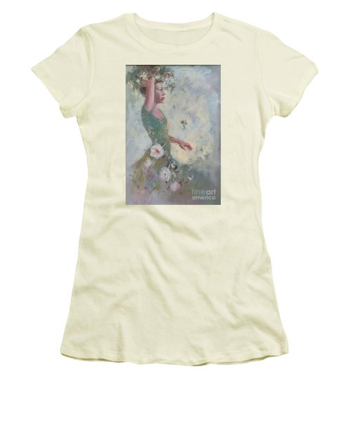 Women's T-Shirt (Junior Cut) featuring the painting Flower Vender by Gertrude Palmer
