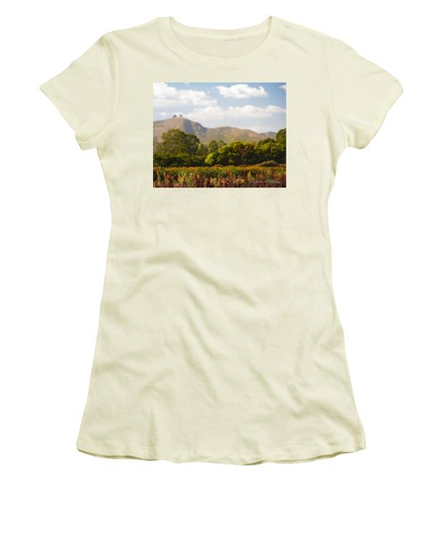 Women's T-Shirt (Junior Cut) featuring the photograph Flowers And Two Trees by John A Rodriguez