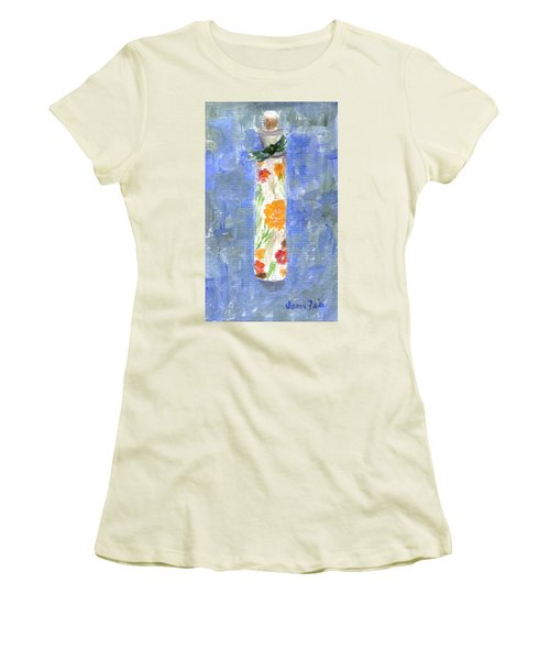 Women's T-Shirt (Athletic Fit) featuring the painting Flowers In A Bottle by Jamie Frier
