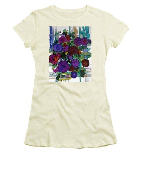 Flowers On Trellis Women's T-Shirt (Junior Cut) by Alika Kumar