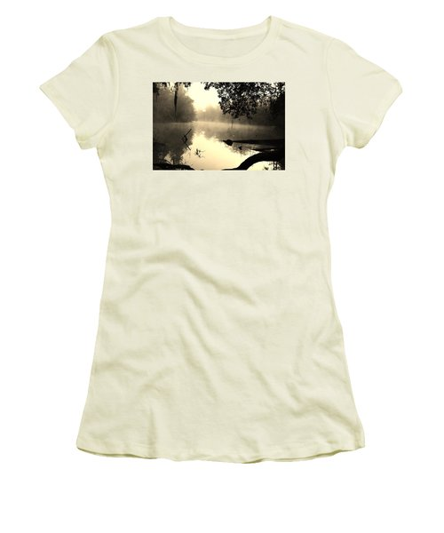 Fog And Light In Sepia Women's T-Shirt (Junior Cut) by Warren Thompson