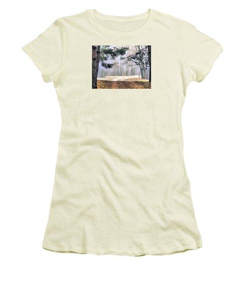 Foggy Autumn Landscape Women's T-Shirt (Junior Cut) by Odon Czintos