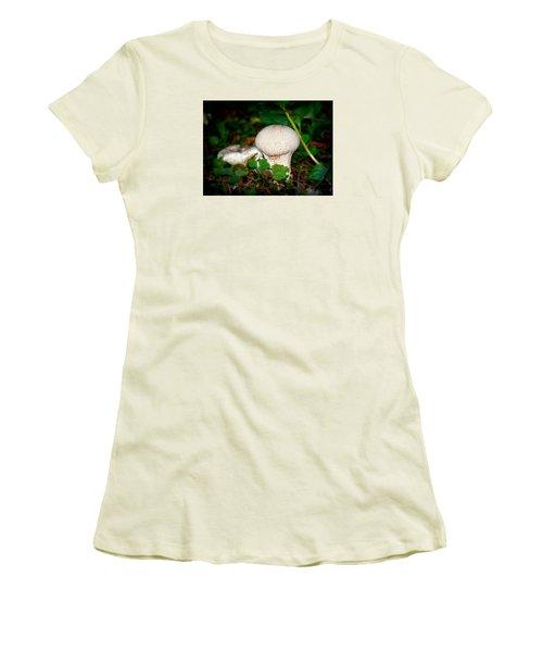 Forest Floor Mushroom Women's T-Shirt (Junior Cut) by Lori Seaman