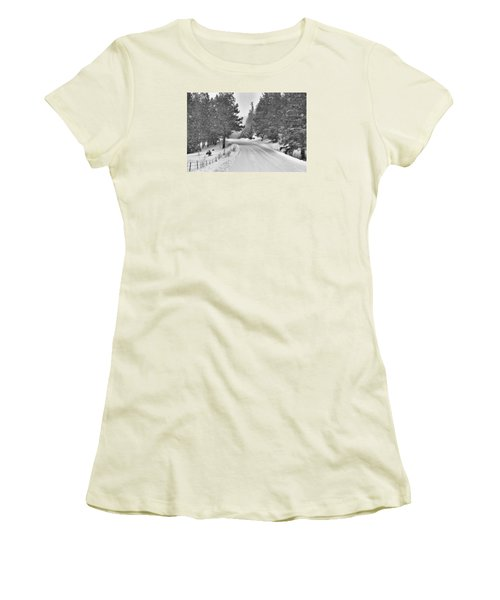 Forest Road In The Snow Women's T-Shirt (Athletic Fit)