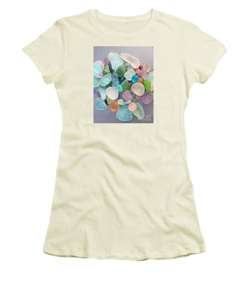 Four Marbles And A Rainbow Of Beach Glass Women's T-Shirt (Athletic Fit)