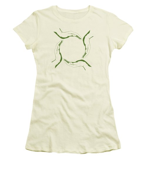 Four People Hands Making Circle Conceptual Round Green Eco Symbo Women's T-Shirt (Athletic Fit)