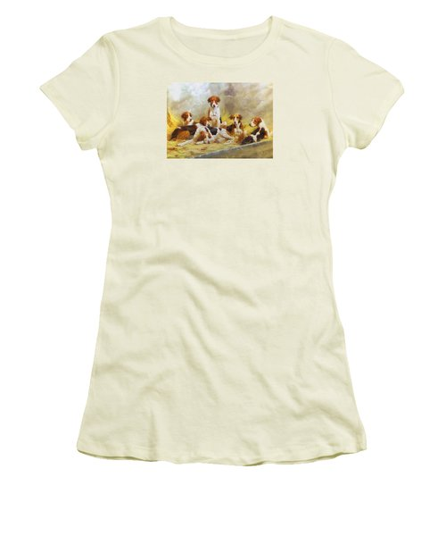 Women's T-Shirt (Junior Cut) featuring the digital art Fox Hounds by Charmaine Zoe