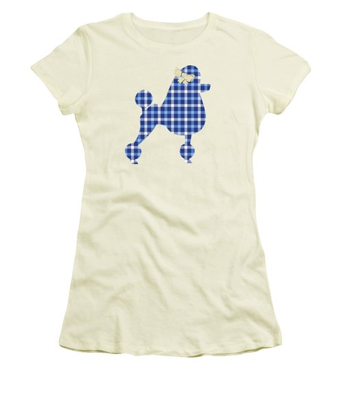Women's T-Shirt (Junior Cut) featuring the mixed media French Poodle Plaid by Christina Rollo