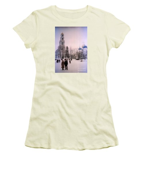 Friends In Front Of Church Women's T-Shirt (Junior Cut) by Ted Pollard
