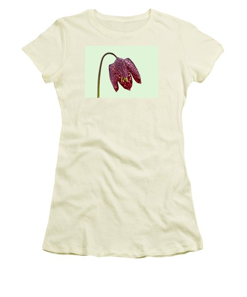 Fritillaria Meleagris Green Background Women's T-Shirt (Athletic Fit)