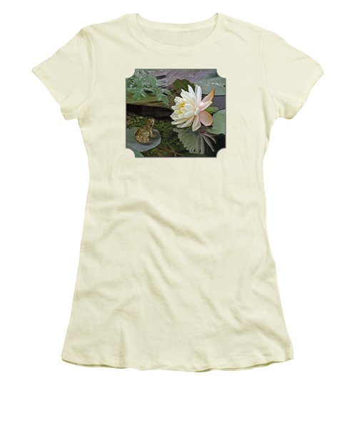 Frog In Awe Of White Water Lily Women's T-Shirt (Junior Cut) by Gill Billington