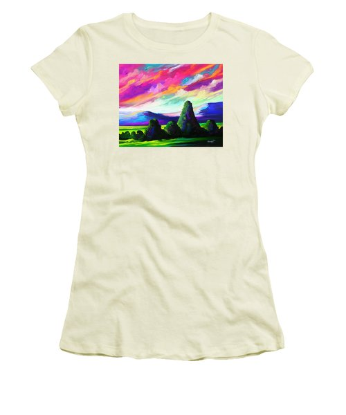 Women's T-Shirt (Junior Cut) featuring the painting From A Distance by Anthony Mwangi