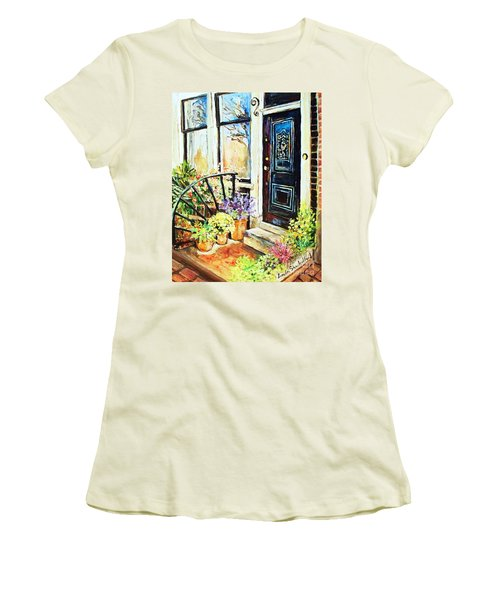 Women's T-Shirt (Junior Cut) featuring the painting Front Porch by Linda Shackelford