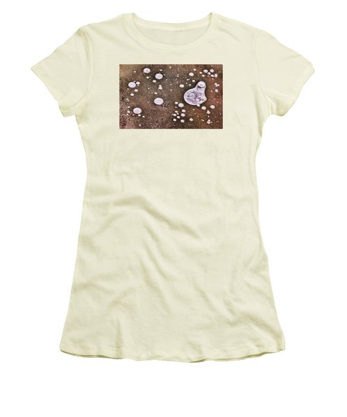 Women's T-Shirt (Athletic Fit) featuring the photograph Frozen Water Drops Abstract by Gary Slawsky