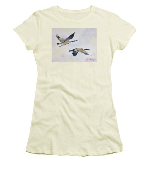 Women's T-Shirt (Junior Cut) featuring the painting Gander by Stan Tenney