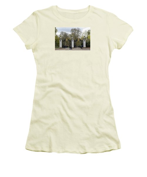 Women's T-Shirt (Junior Cut) featuring the photograph Gates To St James Park by Shirley Mitchell