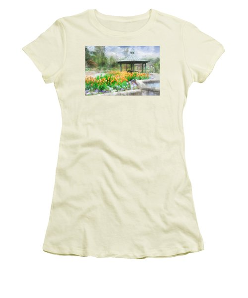 Gazebo With Tulips Women's T-Shirt (Junior Cut) by Francesa Miller
