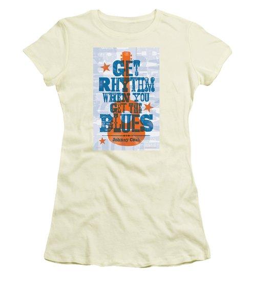 Get Rhythm - Johnny Cash Lyric Poster Women's T-Shirt (Athletic Fit)