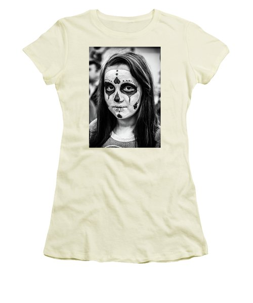 Women's T-Shirt (Athletic Fit) featuring the photograph Girl In Skull Facepaint by John Williams