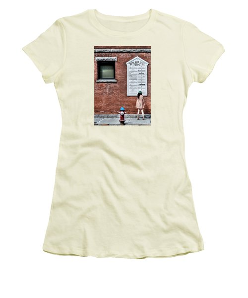 Walking On Railroad Street No. 3 - The Girl In The Polka Dot Dress Women's T-Shirt (Athletic Fit)