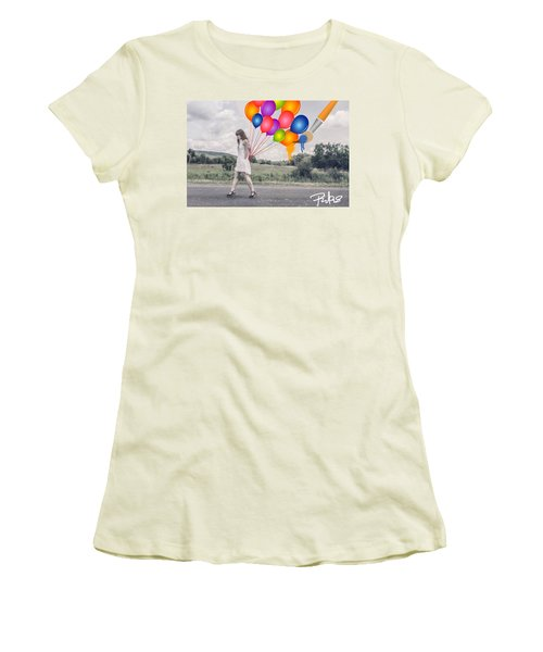 Girl Walking With Ballons #1 Women's T-Shirt (Junior Cut) by Diana Riukas