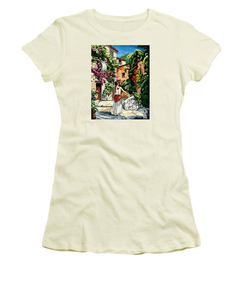 Girl With Basket On A Greek Island Women's T-Shirt (Athletic Fit)