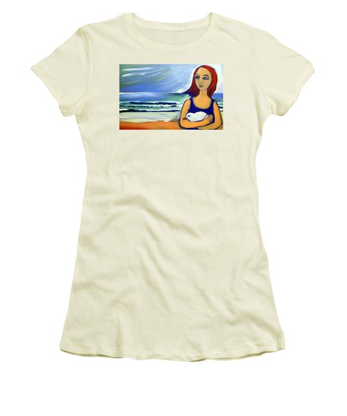 Girl With Bird Women's T-Shirt (Athletic Fit)