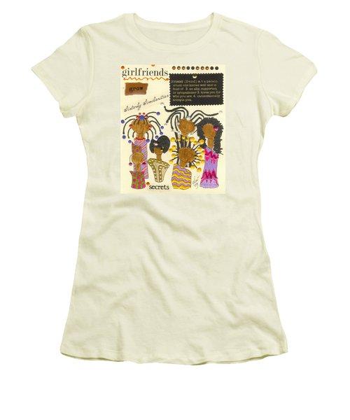 Women's T-Shirt (Junior Cut) featuring the mixed media Girlfriends  by Angela L Walker