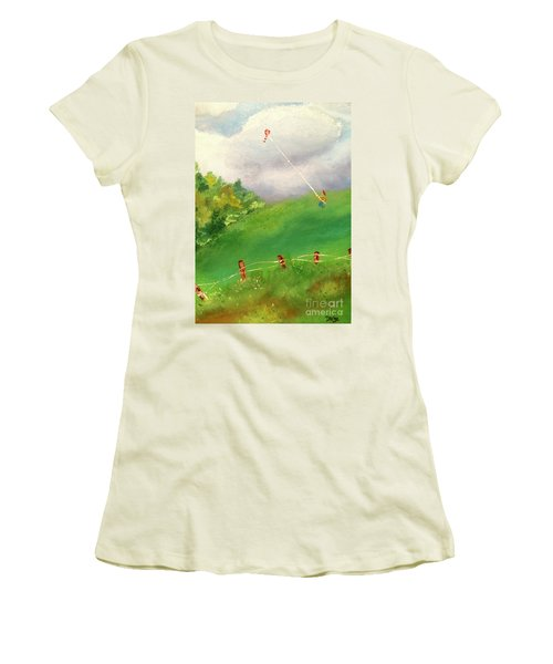Women's T-Shirt (Athletic Fit) featuring the painting Go Fly A Kite by Denise Tomasura
