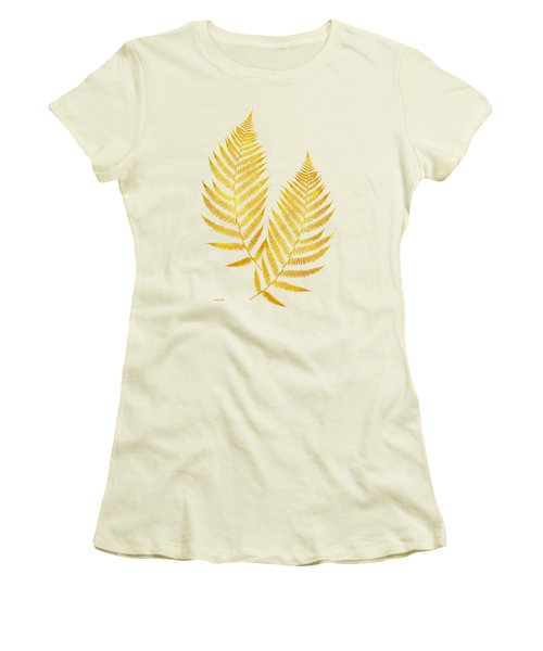Women's T-Shirt (Junior Cut) featuring the mixed media Gold Fern Leaf Art by Christina Rollo