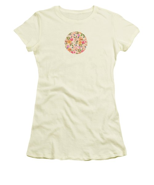 Golden Flitch Digital Vintage Retro  Glitched Pastel Flowers  Floral Design Pattern Women's T-Shirt (Junior Cut) by Philipp Rietz