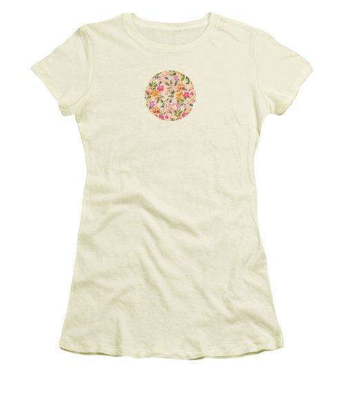 Golden Flitch Digital Vintage Retro  Glitched Pastel Flowers  Floral Design Pattern Women's T-Shirt (Junior Cut) by Philipp Rietz