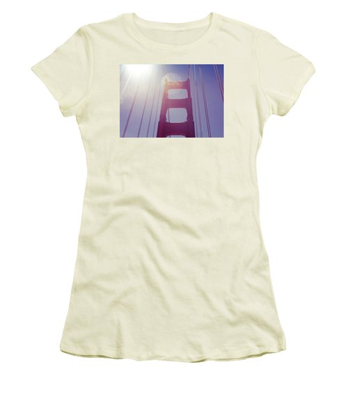 Women's T-Shirt (Junior Cut) featuring the photograph Golden Gate Bridge The Iconic Landmark Of San Francisco by Jingjits Photography