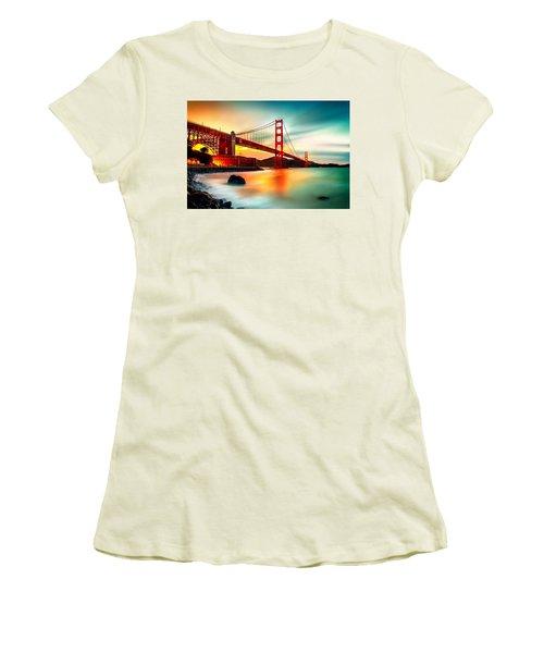 Golden Gateway Women's T-Shirt (Junior Cut) by Az Jackson