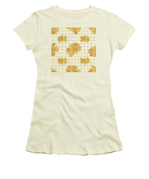 Women's T-Shirt (Junior Cut) featuring the painting Golden Gold Blush Pink Floral Rose Cluster W Dot Bedding Home Decor by Audrey Jeanne Roberts