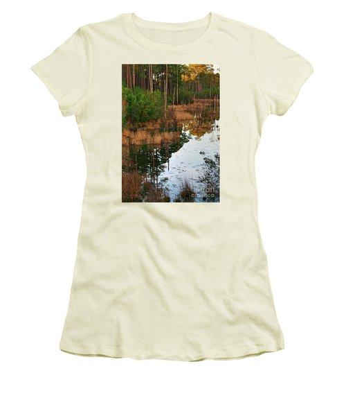 Women's T-Shirt (Junior Cut) featuring the photograph Golden Pond by Lori Mellen-Pagliaro