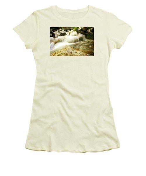 Golden Waterfall Women's T-Shirt (Junior Cut) by Carol Crisafi