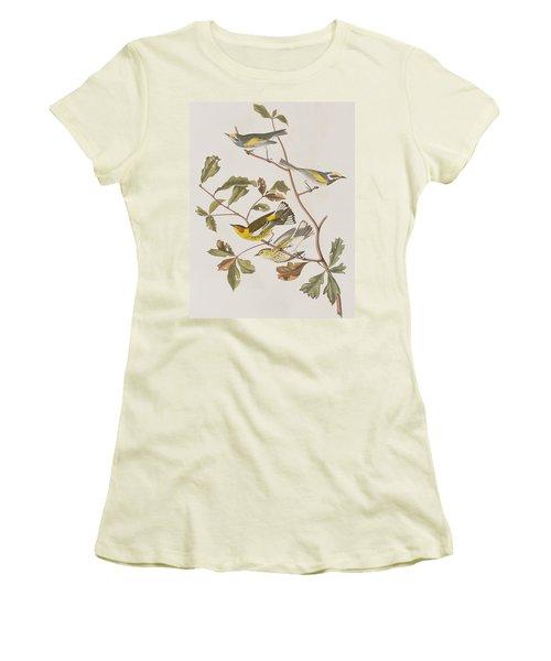 Golden Winged Warbler Or Cape May Warbler Women's T-Shirt (Junior Cut) by John James Audubon