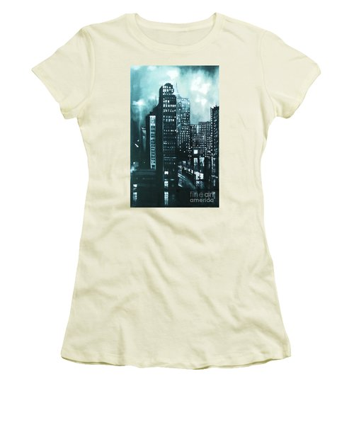 Women's T-Shirt (Junior Cut) featuring the painting Gotham Painting by Maja Sokolowska