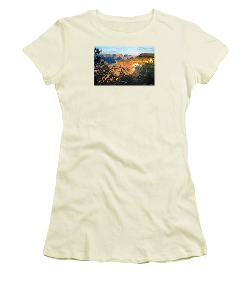 Grand Canyon South Rim - Sunset Through Trees Women's T-Shirt (Athletic Fit)