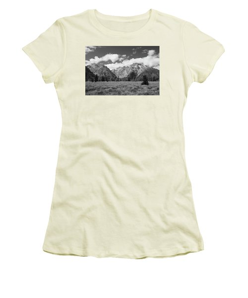 Grand Tetons In Black And White Women's T-Shirt (Athletic Fit)