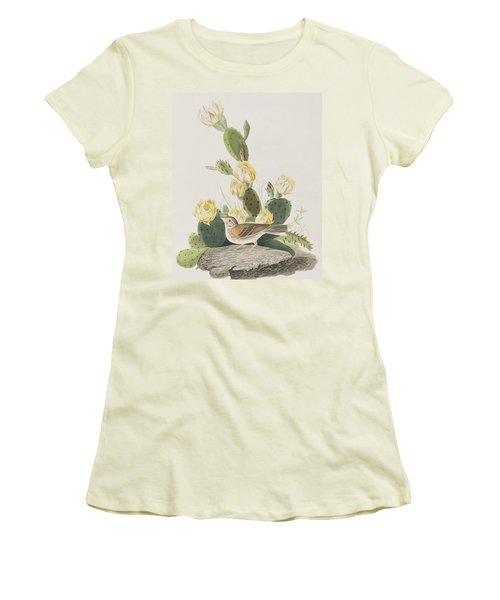 Grass Finch Or Bay Winged Bunting Women's T-Shirt (Junior Cut) by John James Audubon