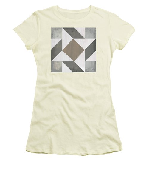 Women's T-Shirt (Junior Cut) featuring the painting Gray Quilt by Debbie DeWitt