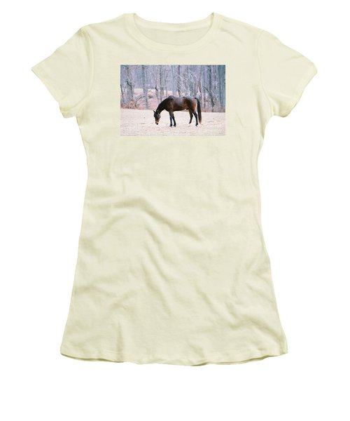 Women's T-Shirt (Junior Cut) featuring the photograph Grazing by Polly Peacock